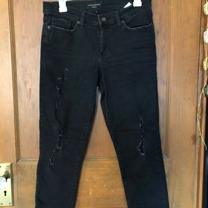 Banana Republic distressed black skinny jeans
